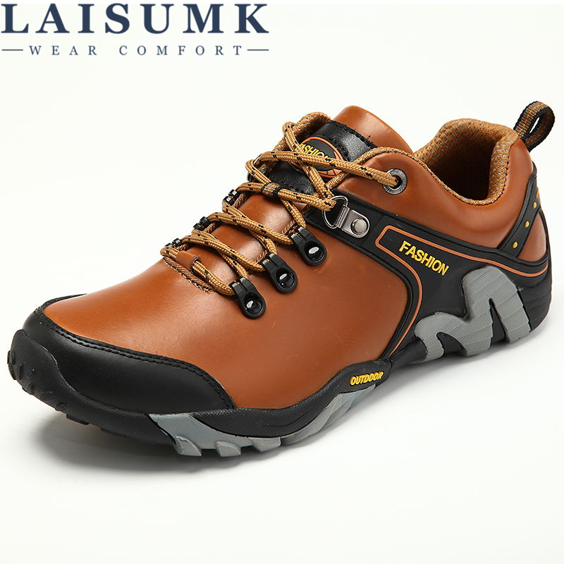 LAISUMK Men Shoes Genuine Leather Shoes Casual High Quality Comfort Business Man Footwear Nonslip Rubber Outdoor Leisure Shoes