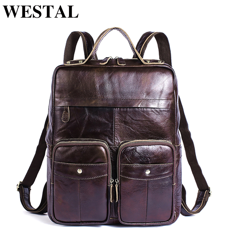 WESTAL рюкзак для ноутбука мужские кожаные рюкзаки для подростка mochila натуральная кожа школьная сумка Путешествия Рюкзак Мужские Daypacks 8207