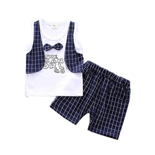 Gentleman Tie Casual Boys Clothes 2018 New Summer Sleeveless Kids Suits for Boys Vest Shorts Baby Children Clothing Set kimocat summer boys clothing sets children clothing set kids boy clothes flower tie shirts shorts 2pcs gentleman suit with tie