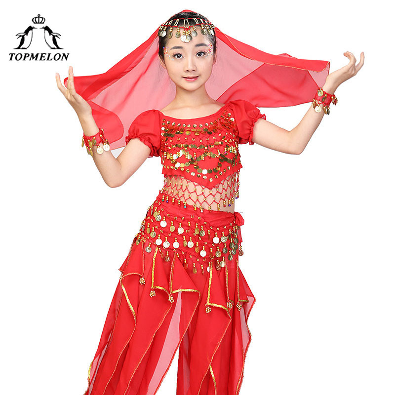 TOPMELON Belly Dance Wear for Girls Sequins Indian Egypt Bollywood Dancing Costume Whole Set Performance Practice Shows Clothes