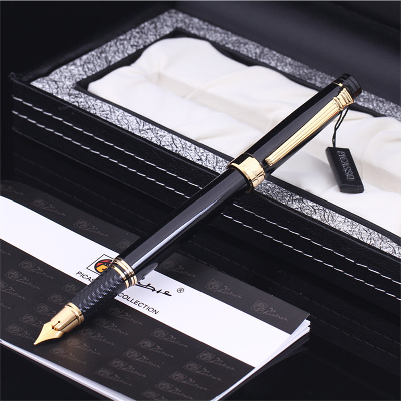 Pimio Picasso fountain pen picasso ps 917 gold clip silver Student teacher business Roman style gift box packaging FREE shipping 9901 fine financia pen student pen art fountain pen 0 38 0 5 0 8mm optional gift box set