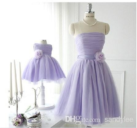 Simple Elegant Strapless Sleeveless Lilac Bridesmaid Dresses 2015 Short Mini Handmade Flowers Pleated Ruched Mint Green Party Prom Gowns (1)