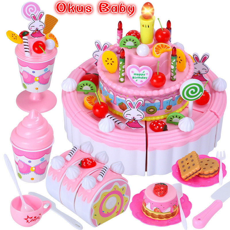 Newest 103Pcs DIY Pretend Play Fruit Cutting Birthday Cake Kitchen Food Toys Toy Pink Blue Girls Gift For Children