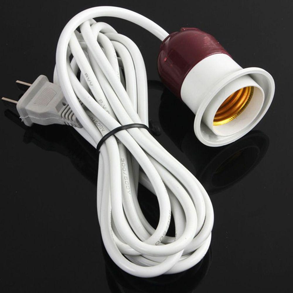 2019 New Style 1 Pcs E27 Edison Screw Light Lamp Bulb Holder Cap Socket Switch Power Plastic Us Plug Cable Cords 220v/ 10a 5-150w 2 Flat Pin Lighting Accessories Lamp Bases