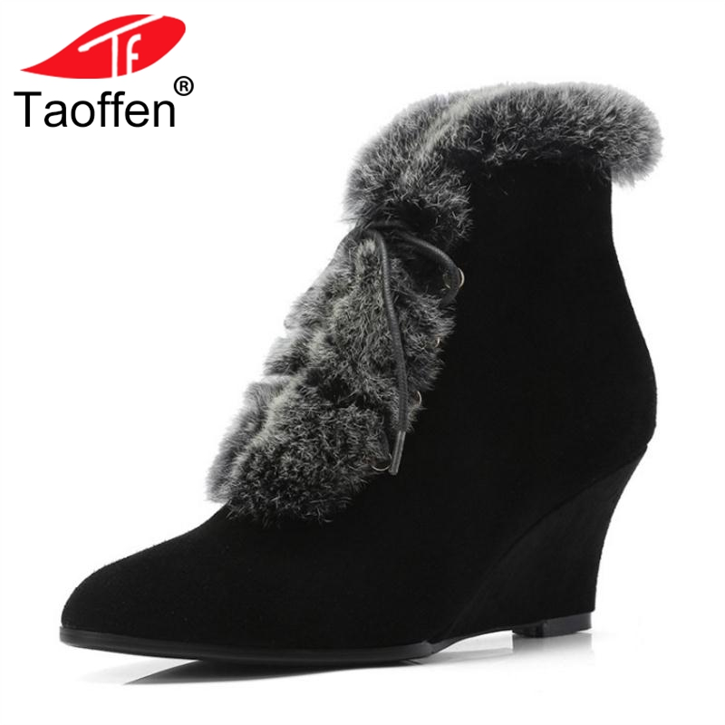 TAOFFEN Women Wedge Boots Winter Real Leather Fur Shoes Woman Lace Up Pointed Toe Sexy Ladies Shoes Women Boots Size 34-39 women real genuine leather pointed toe square high heel shoes woman sexy fashion leisure ladies heeled shoes size 34 39 r7159