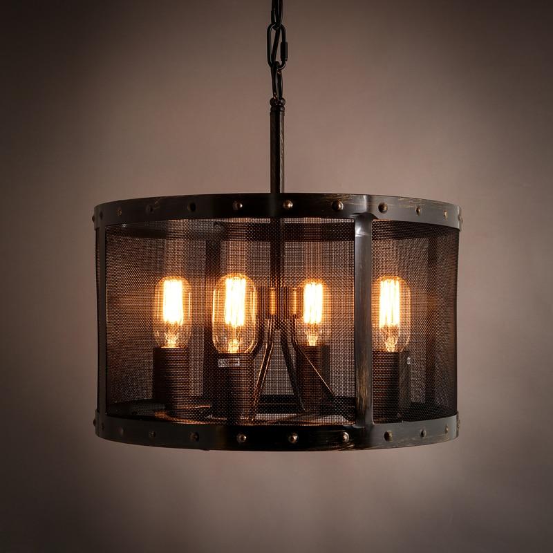 4 Head Loft Retro ipari lámpa felfüggesztés lámpatest Iron Net - Beltéri világítás
