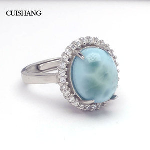 Image 1 - Женское кольцо с ларимаром CSJ, из стерлингового серебра 925 пробы, модные и ультрамодные ювелирные украшения для свадьбы и помолвки