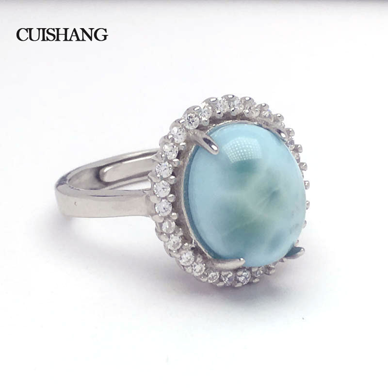 CSJ Natural larimar Ring Sterling 925 Silver new fashion and trendy style fine jewelry for Women Ladies Wedding Engagement GiftCSJ Natural larimar Ring Sterling 925 Silver new fashion and trendy style fine jewelry for Women Ladies Wedding Engagement Gift
