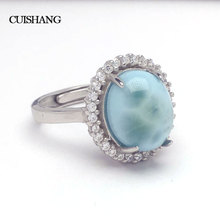 CSJ Natural larimar Ring Sterling 925 Silver new fashion and trendy style fine jewelry for Women Ladies Wedding Engagement Gift