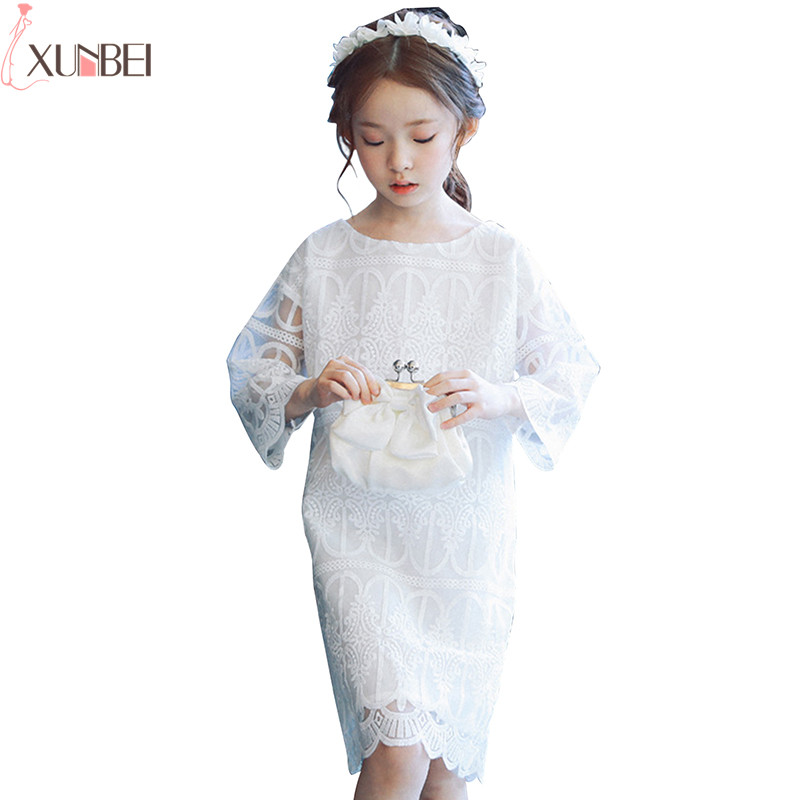 Knee-length   Flower     Girl     Dresses   Lace 2019 Pageant   Dresses   For   Girls   Kids First Communion   Dresses   robe de mariage enfant fille