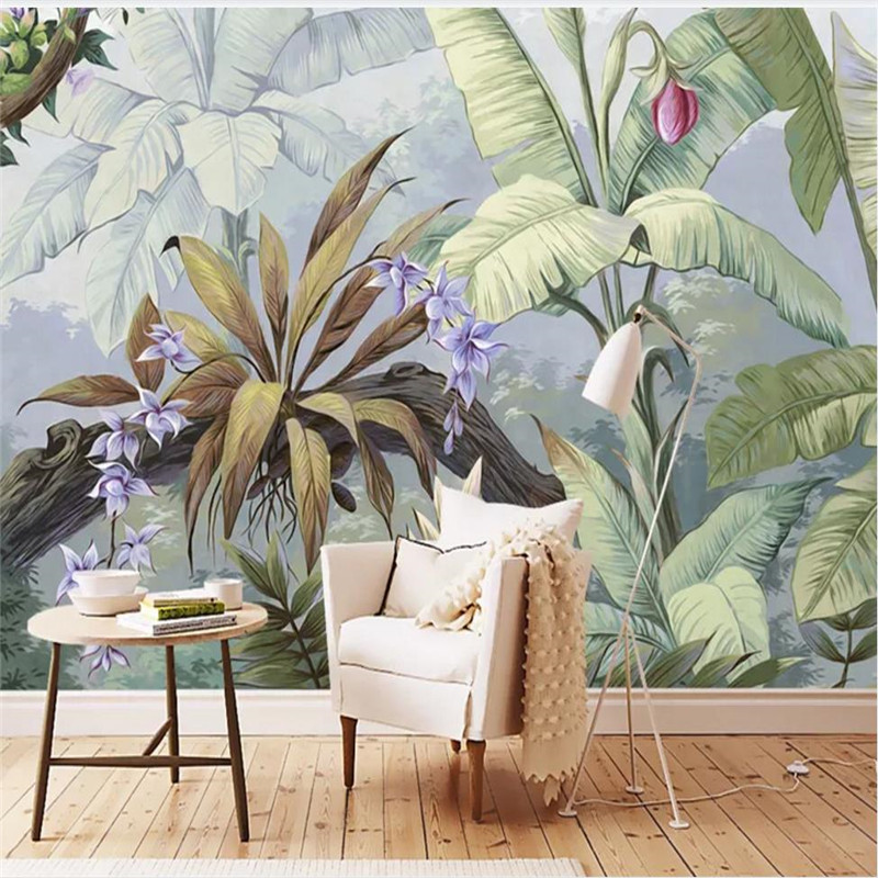 Custom wallpaper high-end European pastoral retro nostalgic rainforest mural background wall waterproof material