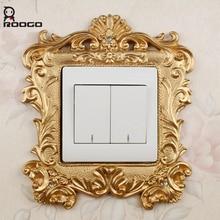 Roogo Золотой 3d переключатель панель наклейка Роскошная Мода украшение в Королевском Стиле аксессуары для дома Смола Розетка набор настенные наклейки