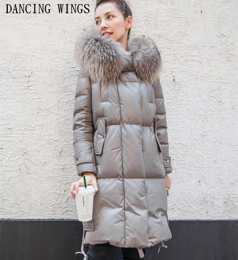 Real Raccoon Fur Collar Genuine leather   Down   Jacket Long Fur Hooded   Coat   Winter Thick Warm Women Overcoat Plus Szie S-3XL