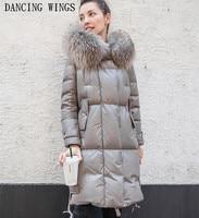 Real Raccoon Fur Collar Genuine leather Down Jacket Long Fur Hooded Coat Winter Thick Warm Women Overcoat Plus Szie S 3XL