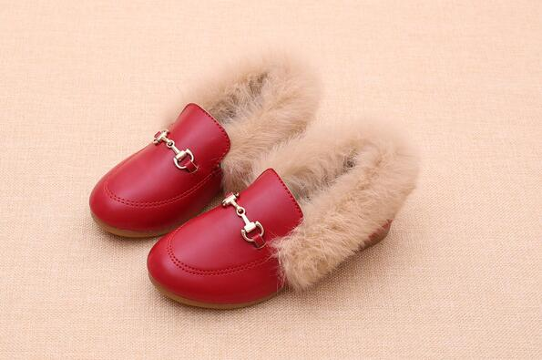 Shoes Girls Winter Princess Cotton Warm Children Fur Real-Rabbit-Fur