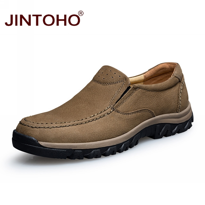 JINTOHO Big Size Men Genuine Leather Shoes Fashion Casual Men Shoes Male Flats Shoes Slip On