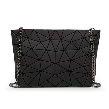New Women Chain Lightnig Luminous sac Bag Diamond Geometry Shoulder Bags Plain Folding Messenger bolso image