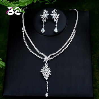 Be 8 Newest Famous Necklace Earrings Set Nigerian Wedding African Women Jewelry Set With Clear Crystal Stone Bijoux femme S402