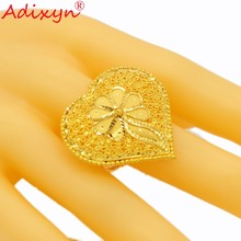 Adixyn Heart Shape Wide Ring for Women/Girls Gold Color Trendy Delicate Engaement Jewelry African/Ethiopian/Arab Items N02274 цены онлайн