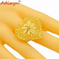 Adixyn Heart Shape Wide Ring for Women/Girls Gold Color Trendy Delicate Engaement Jewelry African/Ethiopian/Arab Items N02274