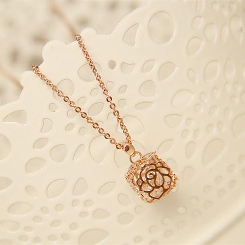 Famous Brand Korean Popular Women Jewelry Gold Necklace Rose Simple Fresh Cute Pendant Chain Hollow All Match Girlfriend Gift Girlfriend Gift Gold Necklacecute Pendant Aliexpress