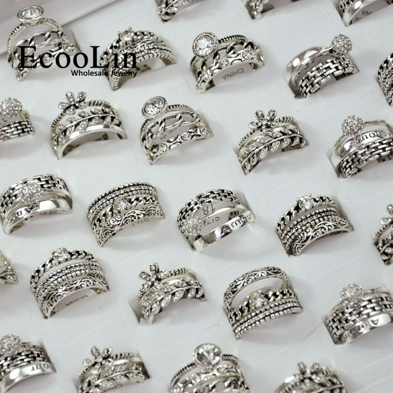15Pieces = 5Sets New Hot 3 In 1 Zircon Ancient Silver Rings Set For Women Wholesale Jewelry Bulks Lot Free Shipping LR4044