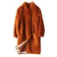 Новые зимние модные теплые женские искусственной овечьей шерсти Мех животных пальто длинные сапоги выше колена, тонкий полным ходом Искусс