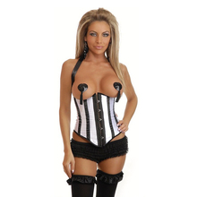 NEW Hanging neck stripe wedding underbust Sexy Waist Workout Cincher Body Shaper Shapewear Corset S 6XL