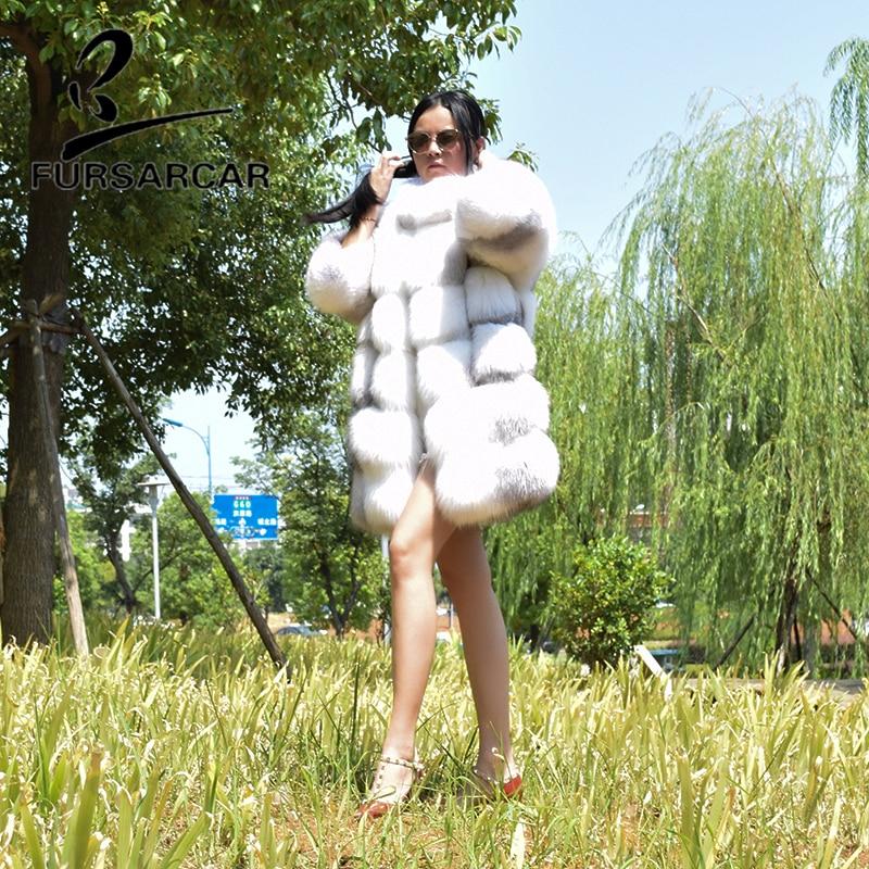 Femmes 80 2018 Long De Naturel Style Luxe Nouveau Renard Croix Fourrure Femme Épais Cm Fursarcar Manteau Hiver Réel Veste wY1p4gxq