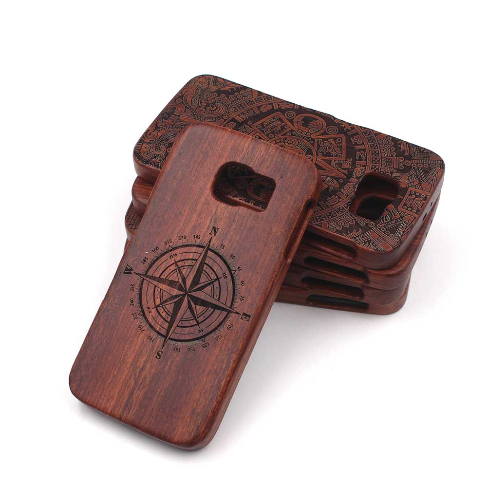 Wooden Bamboo Back Wood Phone Case For Samsung Galaxy S7/S7 Edge S6/S6 Edge/Plus Note 4/5 Laser Carving Hard Protective Cover