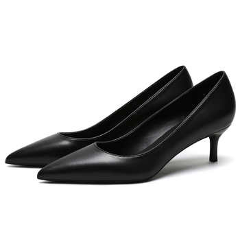 KATELVADI Shoes Women Pumps 5CM Mid Heels Black Split Leather Woman Shoes Sexy Pointed Toe Wedding Party Shoes K-363