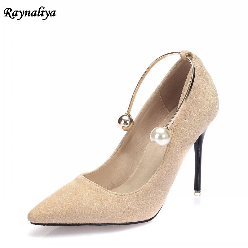 Elegant Ladies Pointed Toe genuine leather Women Pumps 2018 Spring New 7cm High Heel Pearl Buckle Ladies Shoes XZL-B0043 creativesugar ladies elegant pointed toe