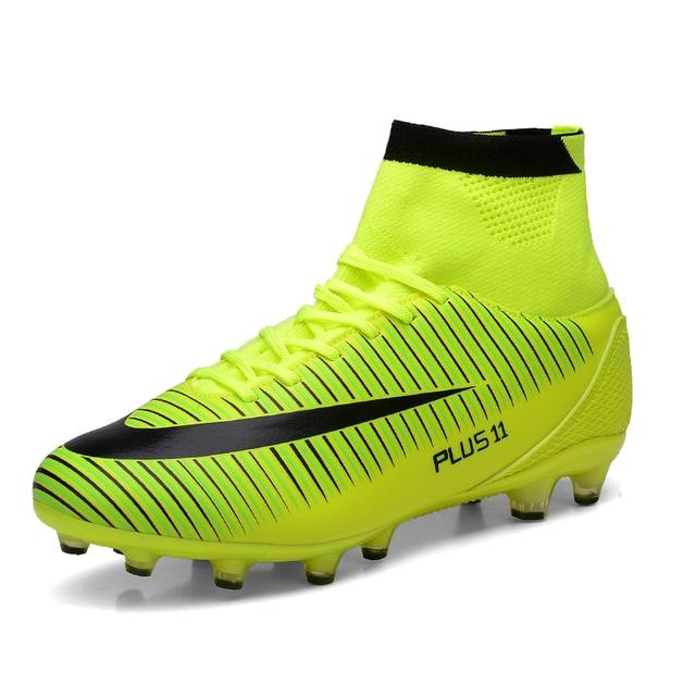 a2a983820dfe Для мужчин высокие ботильоны Футбол сапоги длинные шипы Обувь для футбола с  высоким верхом износостойкая футбольные