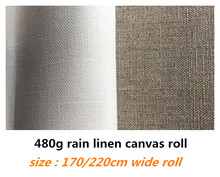 1.7m/2.2m de largura 10m longo puro chuva linho lona rolo para artistas com qualidade superior da categoria