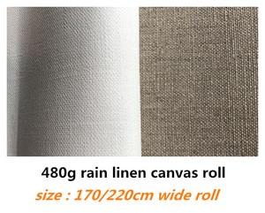Image 1 - 1.7m/2.2m genişliğinde 10m uzun saf yağmur keten tuval rulo sanatçılar için üst sınıf kalite