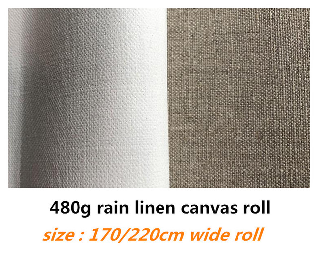 1.7m/2.2m genişliğinde 10m uzun saf yağmur keten tuval rulo sanatçılar için üst sınıf kalite