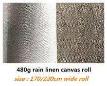 1.7m/2.2m large 10m long rouleau de toile de lin de pluie pure pour les artistes avec une qualité supérieure