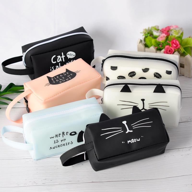 Kawaii Cat Pencil Case Silicon Pencil Bag For School Girl Candy Color Pen Case Stationery Organizer Pouch Korea Pen Bag Gift Box