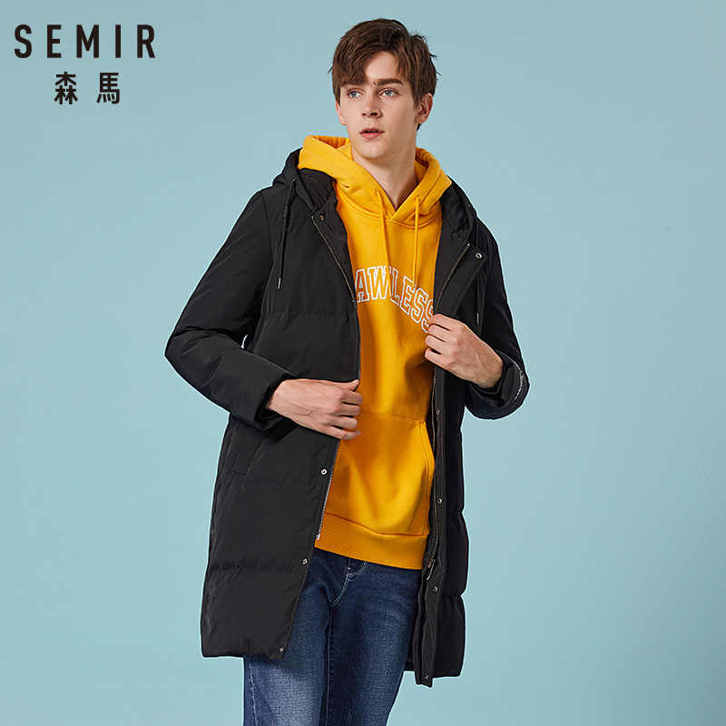 SEMIR 2019 nowa zimowa mężczyźni dół kurtki 2XL bardzo długi płaszcz z kaczego puchu zagęścić ciepłe wiatroszczelna męska odzież wierzchnia