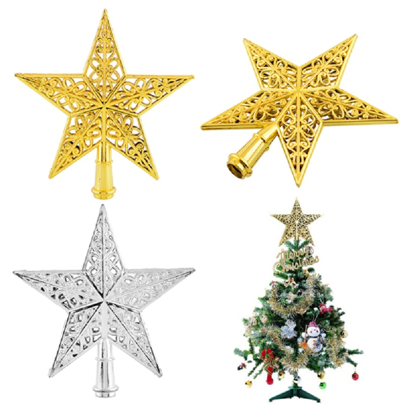 new year lovely decorative silver christmas xmas star tree topper