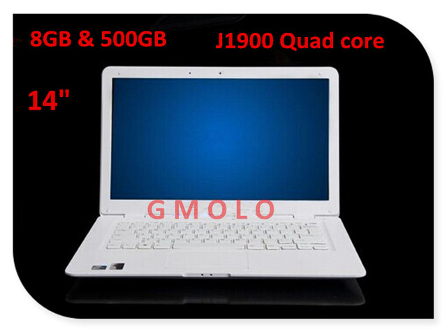 14inch 8GB RAM & 500GB HDD J1900 Quad core processor laptop computer 1600*900 HD screen USB 3.0 Windows 7/8 ultrabook notebook