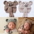 Bonito Chapéu de Crochê Bebê Urso Foto Atirar Adereços Artesanais Adereços Fotografia de Recém-nascidos Do Bebê Cap Beanie, Infantil Fotografia Acessórios