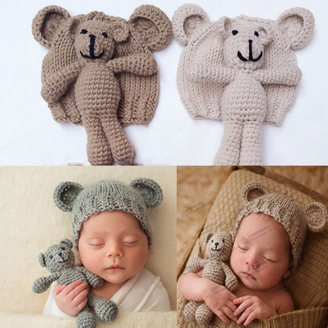 Cute crochet baby hat bear photo shoot props handmade newborn photography prop baby cap beanie infantil