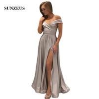 Corset Back Sexy Prom Dresses Off Shoulder A line Long Party Gowns With A Slit Vestido De Festa Longo
