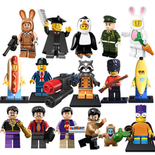 Building Blocks The Beatles Mr Banana Penguin Sausageman Soccer diy figures Superhero Bricks Kids DIY Educational Toys Hobbies