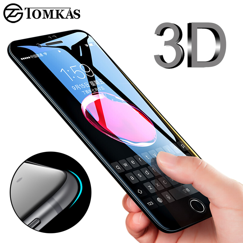 TOMKAS 3D Edge Tempered Glass For iPhone 7 8 Plus Full Cover 3D Round Protective Screen Protector For iPhone 6 7 Plus Glass