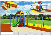 Anti rust Outdoor School Playground Nursery Outdoor Swing Set for Children Fadeless HZ 5915