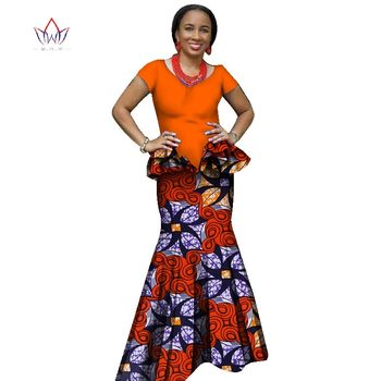 2019 african traditional clothing bazin african print clothing for women Bazin Riche plus size skirt set evening dress  WY1187