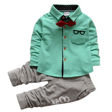 цены 2018 Casual Suits Baby Boys Clothes Set Long Sleeve Solid Gentleman Suit For Boys Children Clothing Cotton Costume For Kids Suit