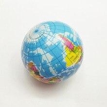 10 cm de Espuma de Borracha Bola Toy World Map Foam Earth Globe mão de Pulso Exercício Squeeze Stress Relief Bola De Espuma Macia para divertido